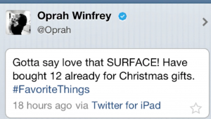 Campañas con influencer (Oprah Winfrey)